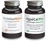 Calcium and Strontium Citrate Supplement - AlgaeCal Plus & Strontium Boost Combo - All Organic Ingredients - Only Bone Building Formula Guaranteed to Increase Bone Density (12 Bottle, 6 Month Supply)