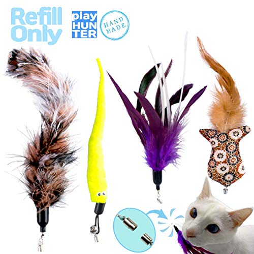 Playhunter Interactive Cat Wand Feather Toy with Tug Attachment for Play, Exercise, and Enrichment, Natural Teaser for…