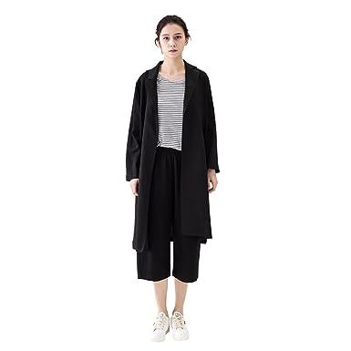 Amazon Com Amazhiyu Women Linen Longline Trench Coat 3 4 Sleeve