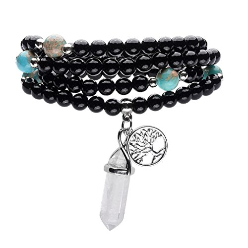 Top Plaza 108 Natural Black Agate Stone Tibetan Buddhist Prayer Mala Beads Buddha Yoga Meditation Wrap Bracelet/Necklace 6mm - Hexagonal Point White Crystal