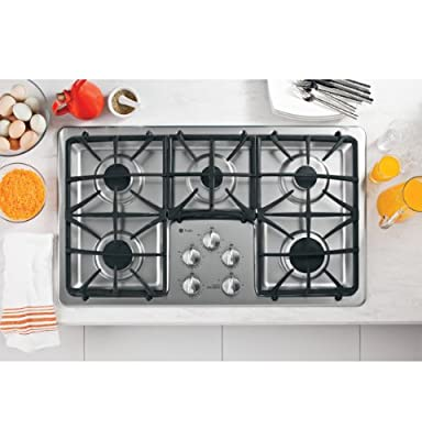 "GE PGP966SETSS Profile 36"" Stainless Steel Gas Sealed Burner Cooktop"