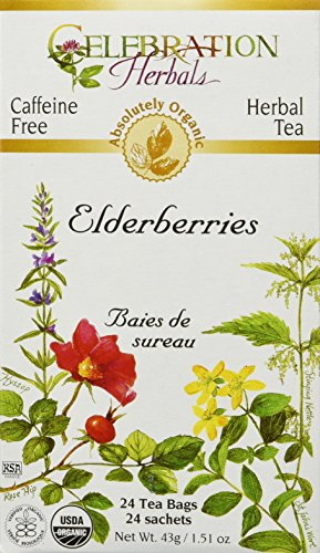 Tea Elderberry (CELEBRATION HERBALS Elderberries Tea Organic 24 Bag, 0.02 Pound)