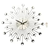 Modern Art Large Wall Clock Metal Sunburst Home Decor DIY Clear Diamante Crystal 39cm x 39cm x 6.5cm