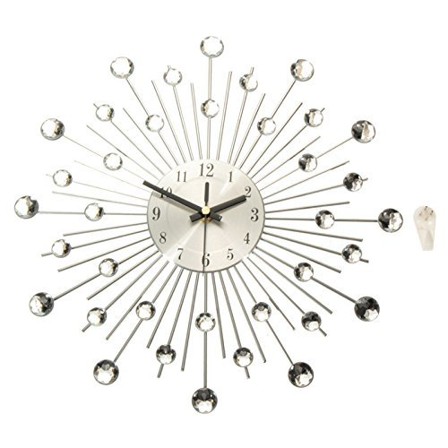 Modern Art Large Wall Clock Metal Sunburst Home Decor DIY Clear Diamante Crystal 39cm x 39cm x - Diy Sunburst