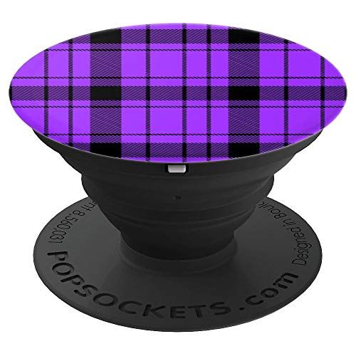 Electric Purple Prep School Punk Plaid Pattern Popsocket - PopSockets Grip and Stand for Phones and Tablets ()