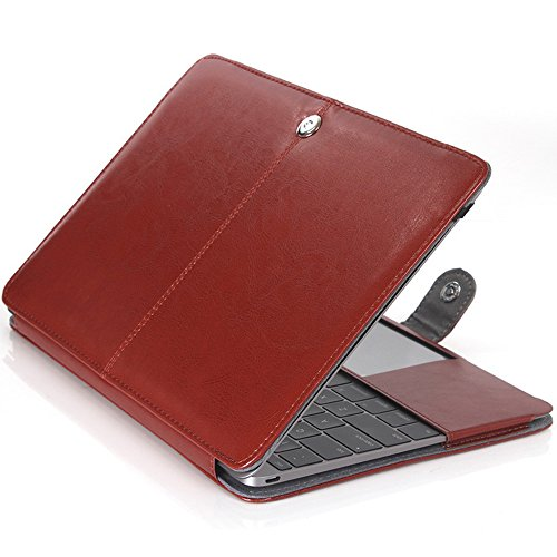TechCode MacBook Pro 15.4 Inch Cover, Premium PU Leather Luxury Bookstyle Stand Folio Slim Fit Lightweight Stylish Classic Style Ultra Thin Retro Case for MacBook PRO 15.4'',Brown