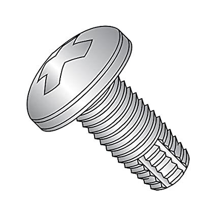 Phillips Drive 18-8 Stainless Steel Thread Cutting Screw Plain Finish #10-24 Thread Size Pan Head Pack of 25 Type F 1-1//4 Length