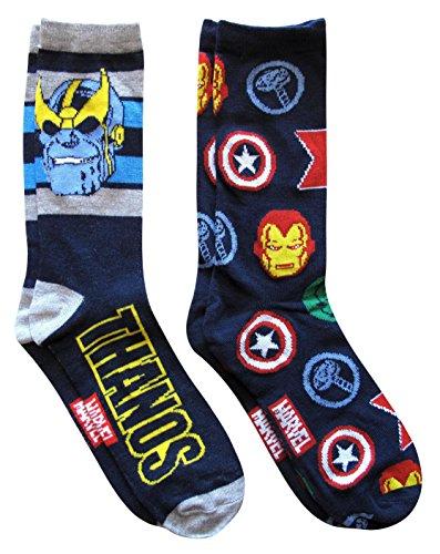 Hyp Marvel Thanos Avengers Men's Crew Socks 2 Pair Pack Shoe Size 6-12