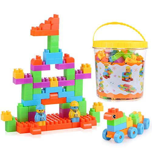 LH Kids Building Blocks (266pcs Set) DIY Stackable Toys Building Bricks for Toddlers with Bucket¡­ ()