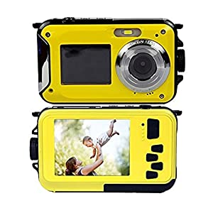 Dual Screens Waterproof Digital Camera with 2.7 Inch LCD Display,Underwater Sport Camera,Point and Shoot Camera,Mini and bright yellow color Camera for Kids.