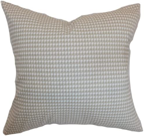 The Pillow Collection Lviv Houndstooth Pillow, Powder Grey