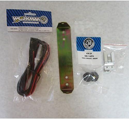 Workman CB Radio Mount Bracket for Cobra 25 Kit Power Cord, knobs, Bracket, mic Clip
