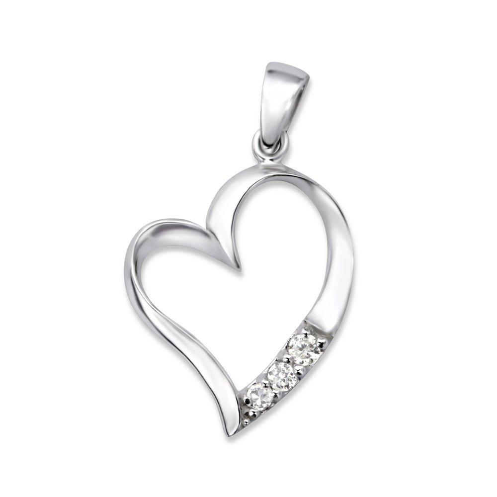Laimons Damen-Anhänger Herz glanz Zirkonia Sterling Silber 925 OS1920
