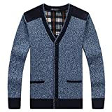 XinDao Men's Cashmere Button Front Long Sleeve Cardigan Sweater Brown V Neck Buttons and Pockets Blue?Grey US M/Asia XL