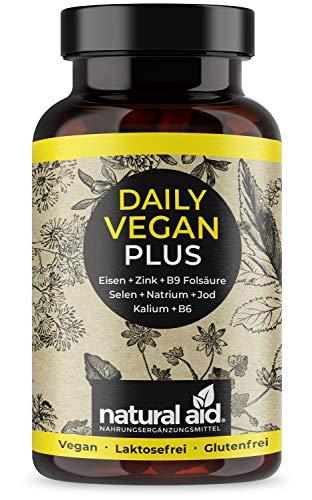 Daily Vegan PLUS - Eisen+Zink+B9 Folsäure+Selen+Natrium+Jod+Kalium+B6 - Kapseln Hochdosiert, 120 Kapseln (4 Monats-Vorrat), speziell für eine vegane/vegetarische Ernährung, hergestellt in Deutschland