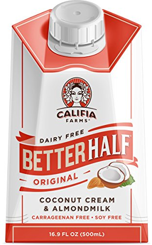 Califia Farms Better Half Coffee Creamer, Coconut Cream and Almondmilk, Half & Half, Dairy Free, Plant Milk, Vegan, Non-GMO, Original, 16.9 Oz (Pack of 6)