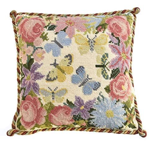 Clematis, Rose, and Butterfly Needlepoint Kit by Elizabeth Bradley. A Premium English Needlepoint Pillow Project on a Cream Background with 100% Wool Yarns.