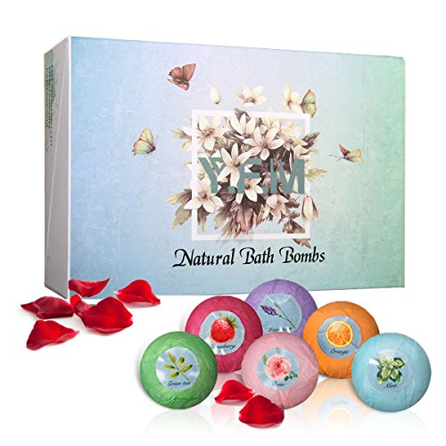 Bath Bomb Kit, LuckyFine 6 Pcs Natural Essential Oil Organic Bath Bomb Set for Valentine's Gift, Spa Bath Kit Box for Moisturizing Dry Skin, Birthday Gift for Women, Girls, Wife, Girlfriend