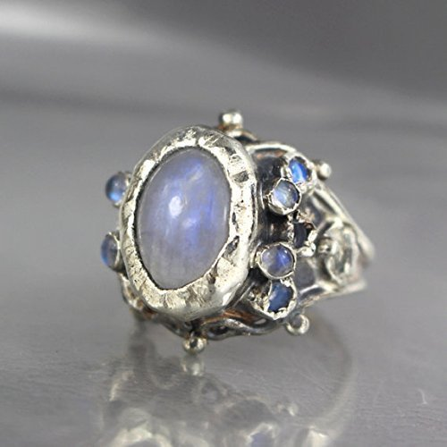 - Vintage Style Rainbow Moonstone Queen Engagement Ring in Sterling Silver, Adjustable Ring