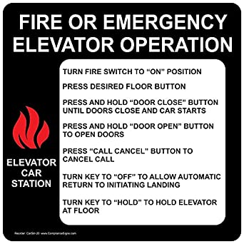 ComplianceSigns Vinyl Fire Or Emergency Elevator Operation Label 6 x 6 in. with English  sc 1 st  Amazon.com & ComplianceSigns Vinyl Fire Or Emergency Elevator Operation Label 6 ...