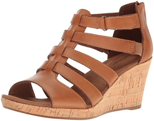 Rockport Women's Briah Gladiator Wedge Sandal, Dark tan Leather, 7.5 M US
