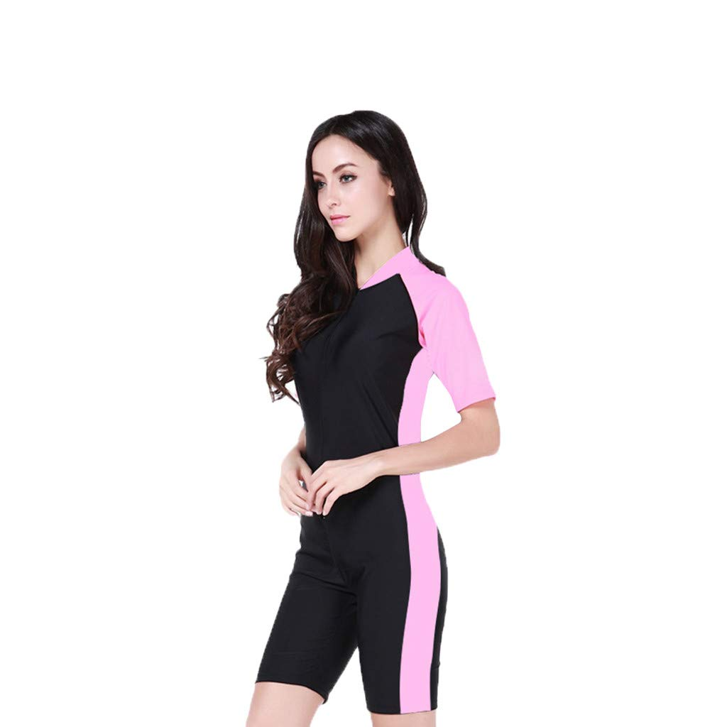 YEZIJIN Woman One Piece Short Sleeve 2mm Neoprene Conjoined Diving Suit Thin Wetsuit New Wetsuit top Long/Short Sleeve Pink