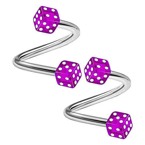 2PCS Surgical Steel Purple Spiral Barbell 14 Gauge 3/8 10mm 4mm Dice Acrylic Rim Helix Earrings Eyebrow Piercing Jewelry 3211 Acrylic Dice Barbells