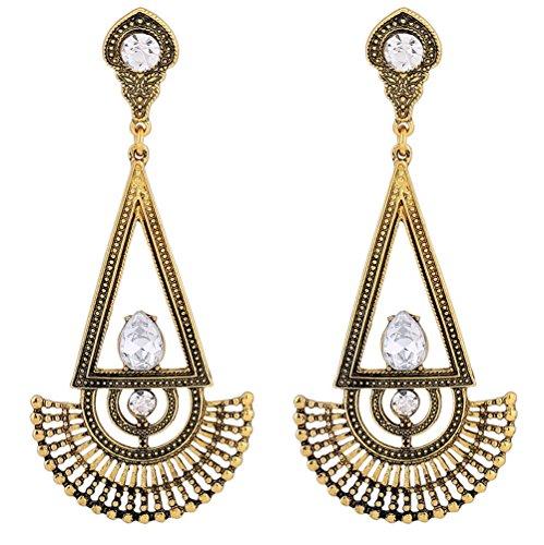 African Gold Earrings - Hoxekle Bohemian Simple Triangle Fan-Shaped Crystal Drop Earrings - Designer Ethnic Womens Earrings Ancient Gold
