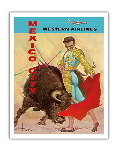 Mexico City - Bullfight Matador - Western Air Lines - Vintage Airline Travel Poster by José Maria Tuser Vázquez c.1960s - Fine Art Print - 11in x 14in (Vintage Bull)