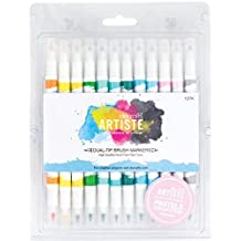 docrafts Artiste Dual Tip Brush Markers, Pastel, 12-Pack by DOCrafts