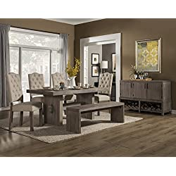 Alpine Furniture Alpine Fiji 5Piece Dining Table Set, Weathered Grey