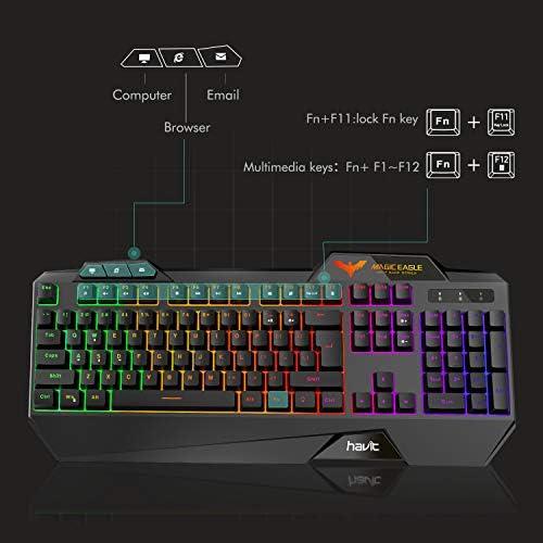 Havit Keyboard Rainbow Backlit Wired Gaming Keyboard Mouse Combo, LED 104 Keys USB Ergonomic Wrist Rest Keyboard, 4800 Dots Per Inch 6 Button RGB Mouse for Windows Gamer Desktop, Computer (Black) 51kYAes05pL
