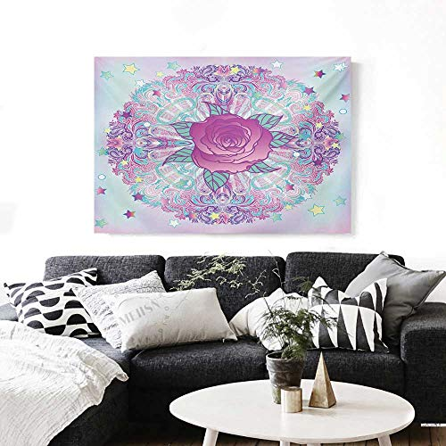 BlountDecor Indie Modern Canvas Painting Wall Art Psychedelic Mandala Inspired Round Rose Figure 80s 90s Retro Vintage Vibrant Art Stickers 24