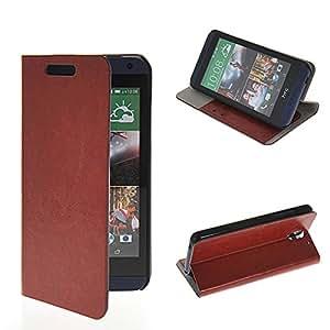 Wabbrye [Brown] Crystal Wireless Without Buckle Cartera Funda protectora cuero sintético Con Soporte Plegable Carcasa Wallet Cover Protección Case para HTC Desire 610