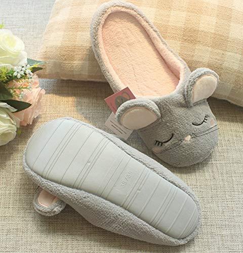 otoño Invierno de Suelo silencioso casa casa ratón Dibujos Interior Lindo Zapatillas de Animados algodón Arrastre e de de Zapatillas Zapatillas DEED Gris 7UnHqxvv8