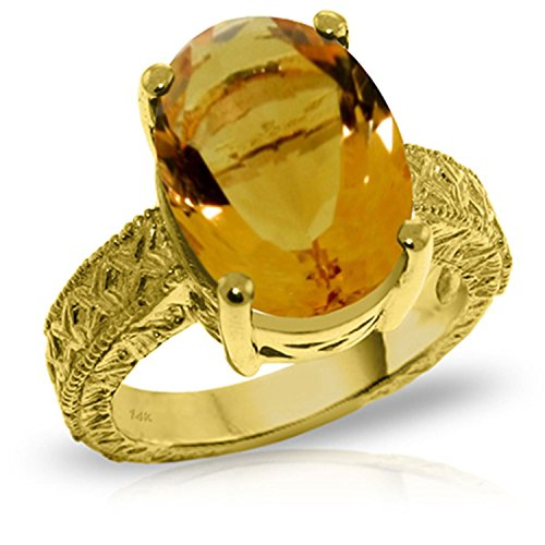 ALARRI 14K Solid Gold Ring w/ Natural Oval Citrine With Ring Size 5 by ALARRI