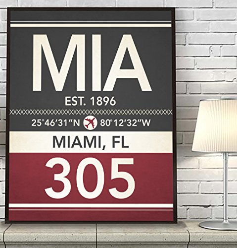 Miami Florida MIA 305 786 Vintage Airport Area Code Map Coordinates Subway Art Print, UNFRAMED, Customized Colors, Christmas - Housewarming gift home decor poster, ALL - Pictures Of Airport Miami
