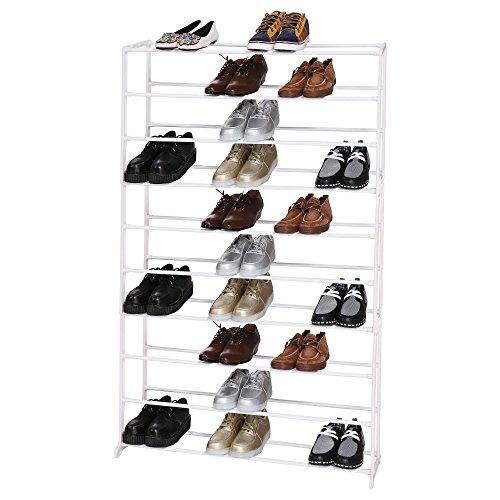 Creine 4/7/10 Tier Shoe Rack, Metal Free Standing Rack Space Saving Shoe Shelves in Closet Entryway Hallway, White(US STOCK)