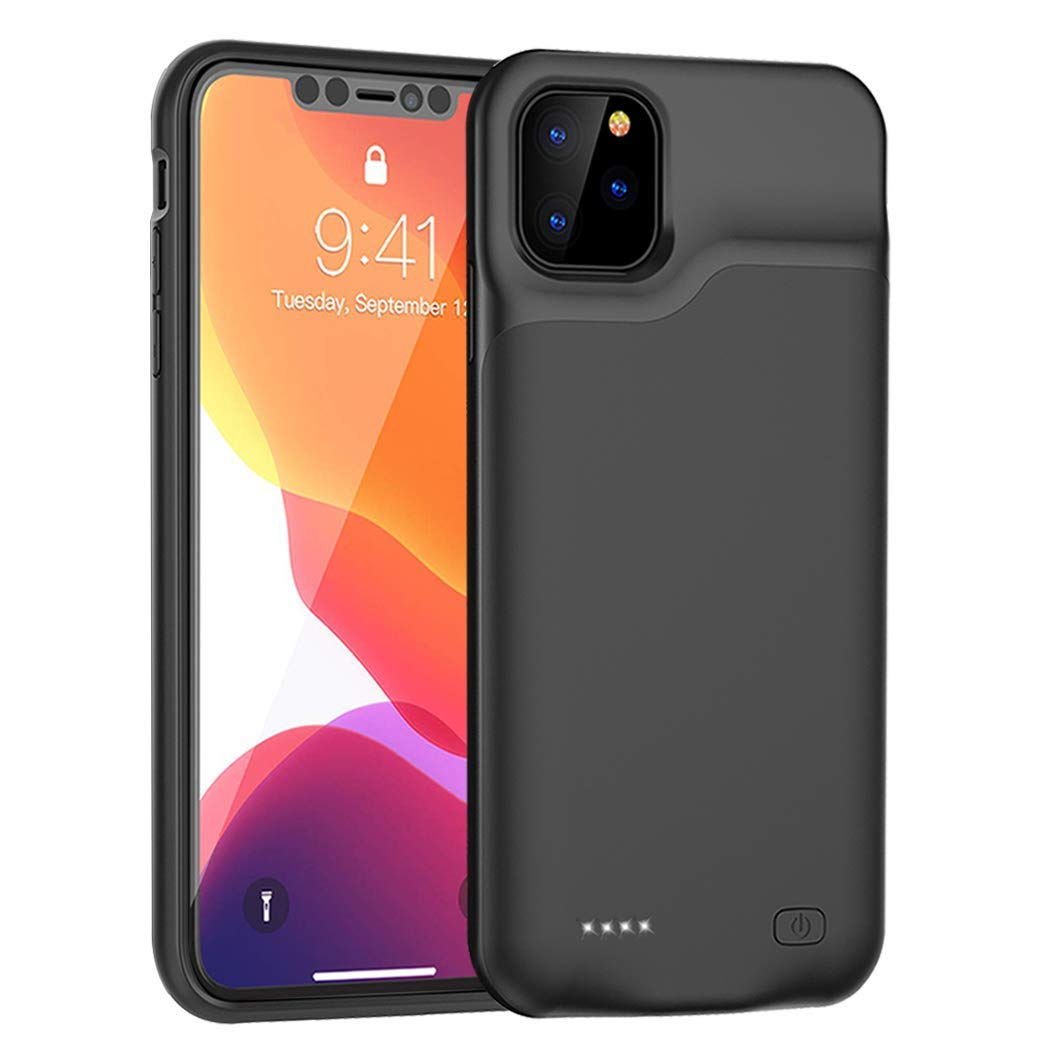 QSACE Battery Case for iPhone11 Pro, 5200mAh Portable Protective Charging Case Compatible with iPhone 11 Pro 5.8 Inches Extended Battery Charger Case (Black) by QSACE