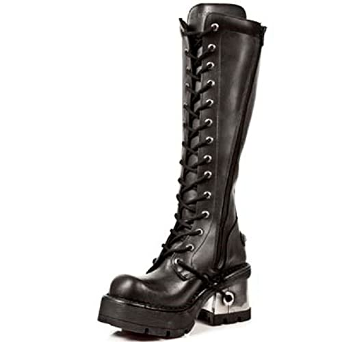 9fc4f63df1d5 New Rock M.236-S1 Ladies Black Leather Metal Heel Platform Knee Lace Boots