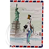 Coolrunner 1pcs Fashion Miss Love to Travel Passport Covers 3D Stereo Design Faux Leather ID Card Holders Stamp Envelope Passport Cases (USA)