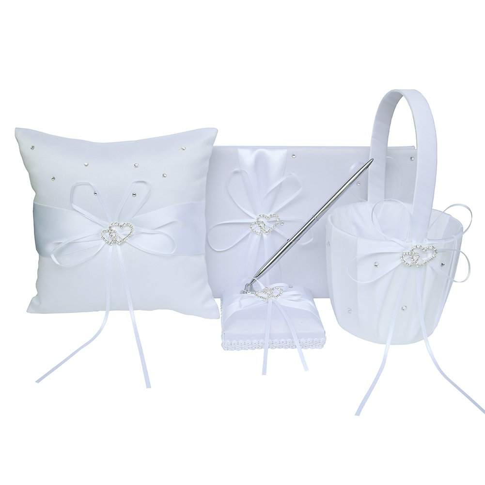 ARKSU 4pcs Wedding Sets Flower Girl Basket + Ring Bearer Pillow + Guest Book Pen + Pen Set Holder Rustic Bridal Wedding Shower Ceremony Anniversary-White