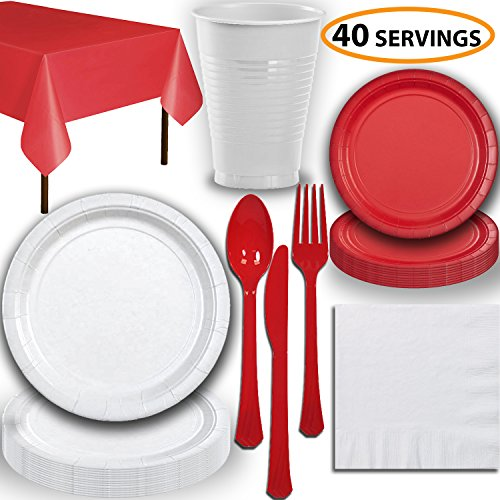 Disposable Party Supplies, Serves 40 - White and Red - Large and Small Paper Plates, 12 oz Plastic Cups, Heavyweight Cutlery, Napkins, and Tablecloths. Full Two-Tone Tableware Set