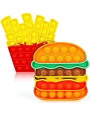 iTechjoy Pop Fidget Toys Its, Bubble Popping Sensory Fidget Toy for Adults and Children, Push It Stress Pop Stress Toy for Autism, Sensory Popper Educational Game Toy for Kid, Hamburger & Fries Shapes