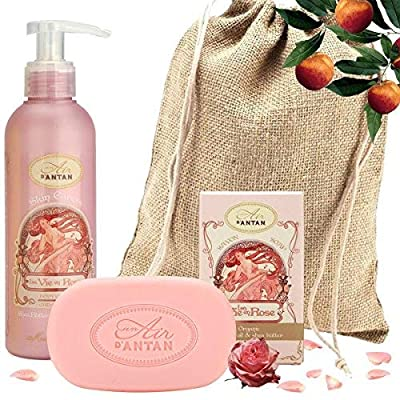 Französisches Beauty Set ROSE. Un Air D'Antan® 1 Stück Seife 100g Mit Bio Ölen/ 1 Bodylotion 200ml Mit Sheabutter In…