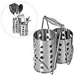 Modern Stainless Steel 2 Compartment Kitchen Utensil Holder, Cutlery Air Drying Organizer Rack
