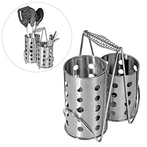 Modern Stainless Steel 2 Compartment Kitchen Utensil Holder, Cutlery Air Drying Organizer Rack (Stainless Steel Cutlery Basket)
