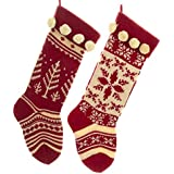 Kurt Adler Red and Cream Knit Stockings 2 Assorted