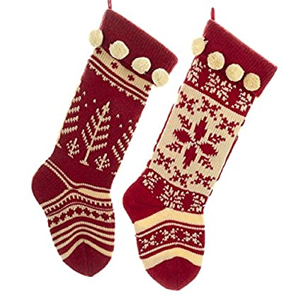 cd61352431a Amazon.com  Kurt Adler Red and Cream Knit Stockings 2 Assorted  Home    Kitchen