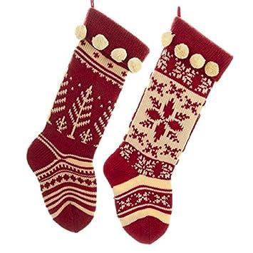 Amazon.com: Kurt Adler Red and Cream Knit Stockings 2 Assorted ...